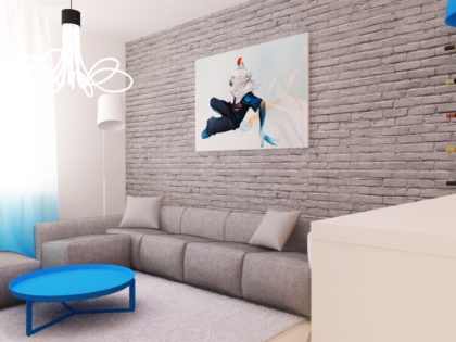 Prostota i minimalizm – trzy kolorowe cegły w mieszkaniu