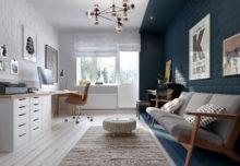 Pomaluj moją ścianę z cegły na biało, zielono i niebiesko –