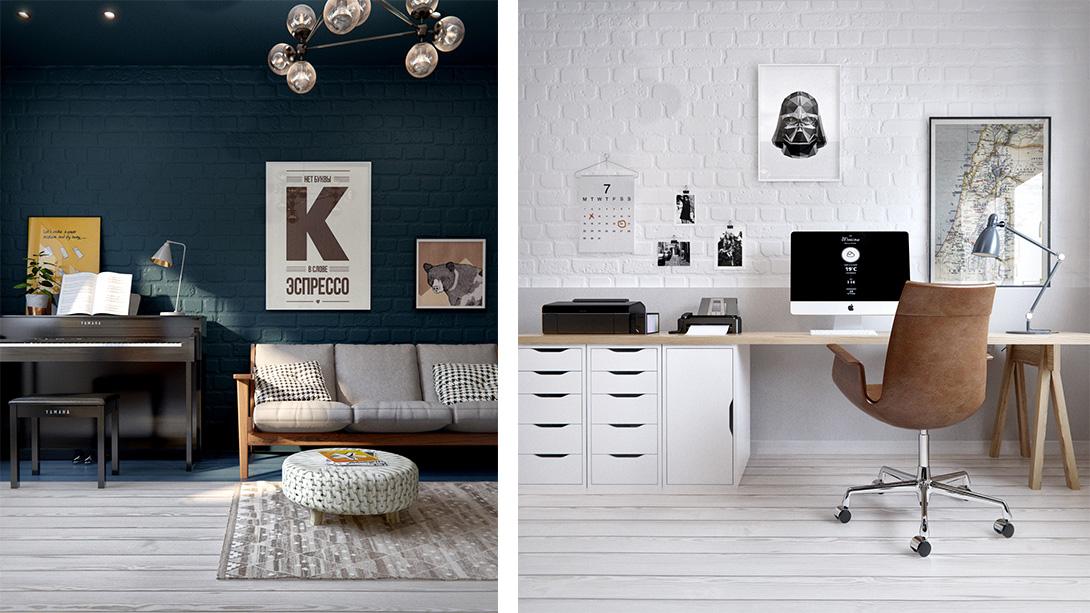 pomalowana na biało cegła w mieszkaniu
