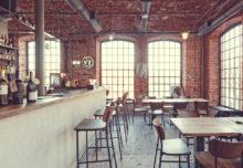 Ceglane ściany i stropy restauracji Bawełna w Łodzi