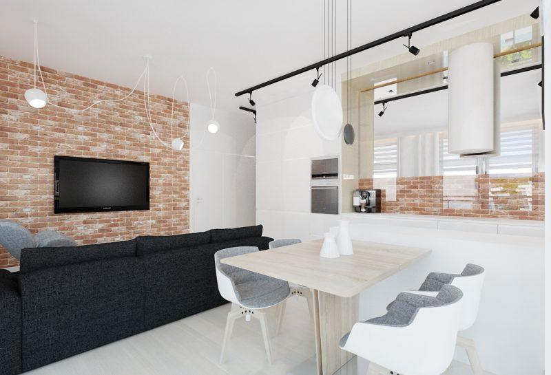 ceglana ściana w salonie i kuchni